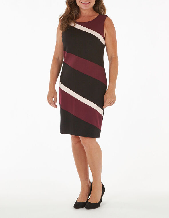 Merlot Striped Sheath Dress, Merlot, hi-res