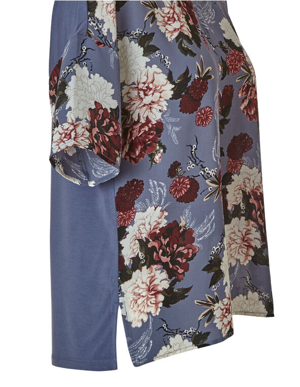 Blue Floral Print Scoop Neckline Top, Blue, hi-res