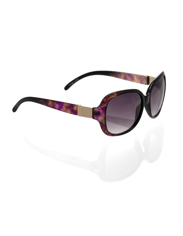 Purple Printed Large Frame Sunglasses, Purple, hi-res
