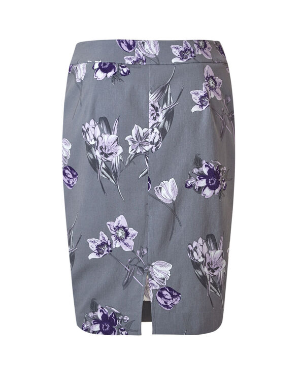 Grey Floral Pull On Pencil Skirt, Light Grey/Purple, hi-res