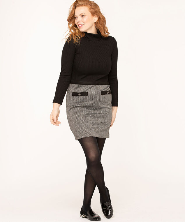 Black/Grey High Neck Knit Dress, Black/Grey, hi-res