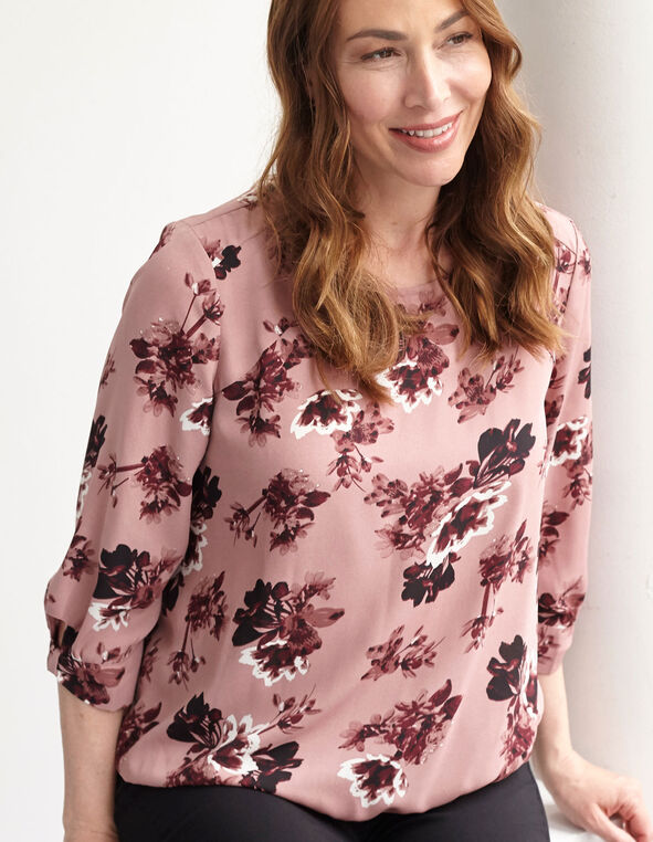 Rose Floral Blouse, Rose, hi-res