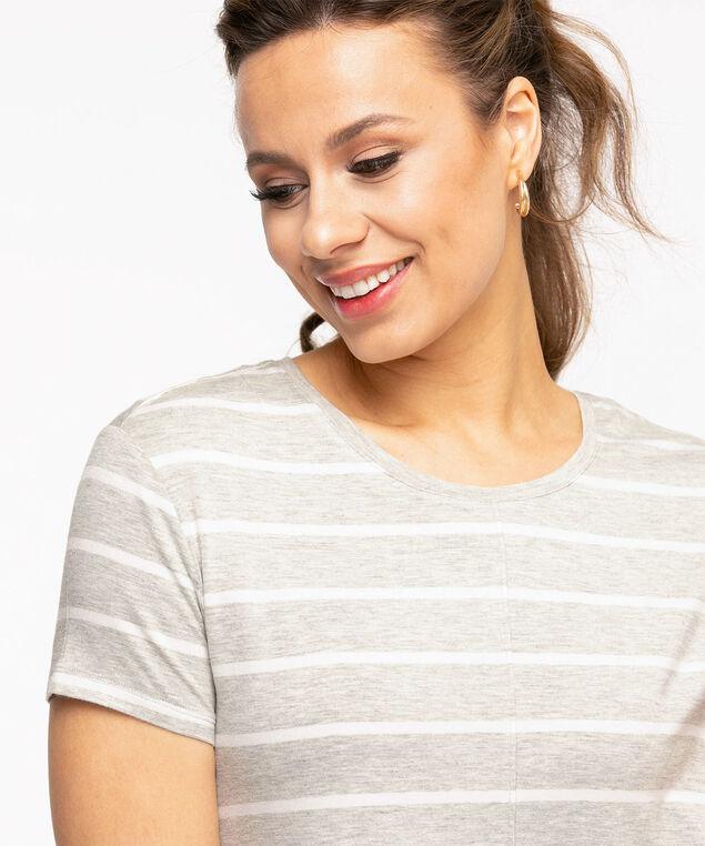 Striped Short Sleeve Tunic Top, Grey Mix/White Stripe