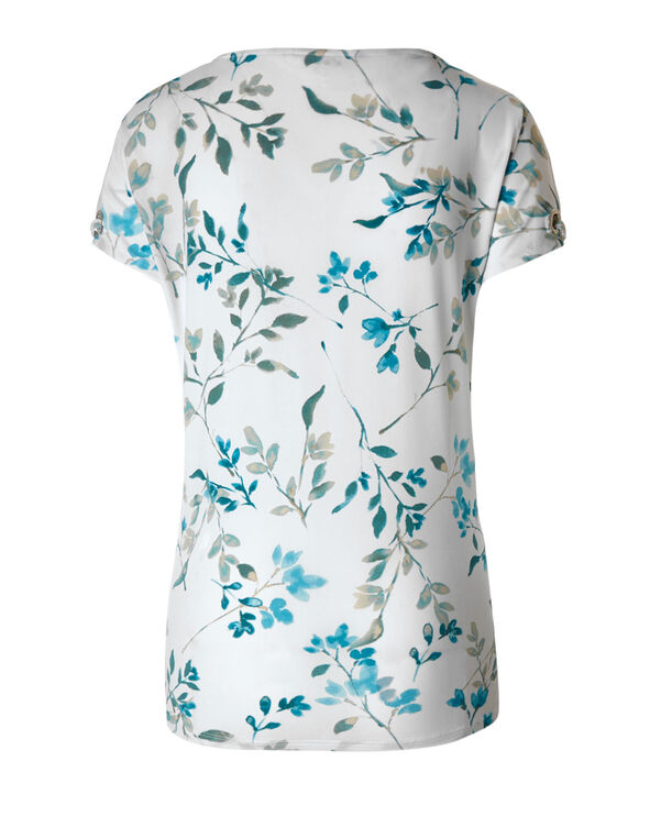 Turquoise Floral Tie Hem Top, White/Turquoise, hi-res