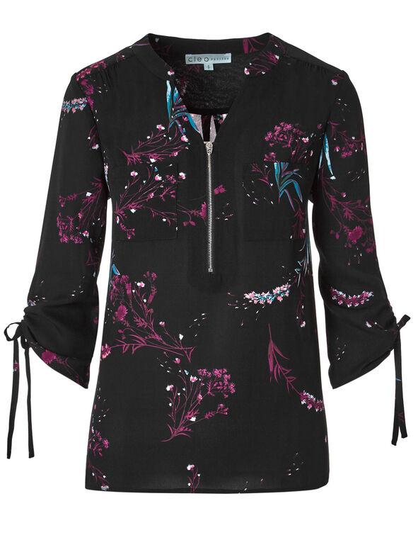 Black Floral Ruched Sleeve Blouse, Black, hi-res