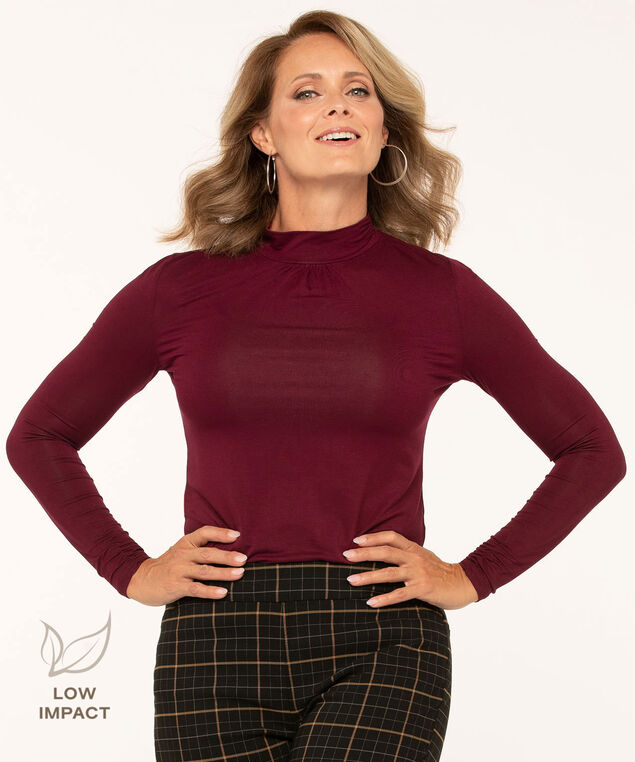 Low Impact Mock Neck Top, Mulberry, hi-res