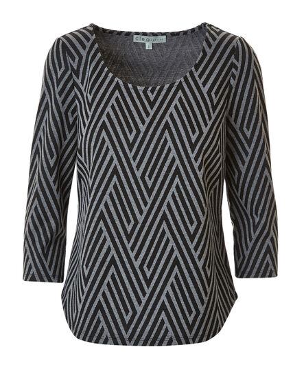 Printed Jacquard Knit Top, Black, hi-res