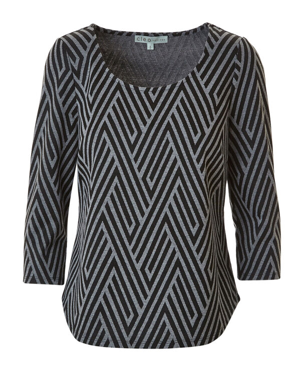 Printed Jacquard Knit Top, Black, hi-res