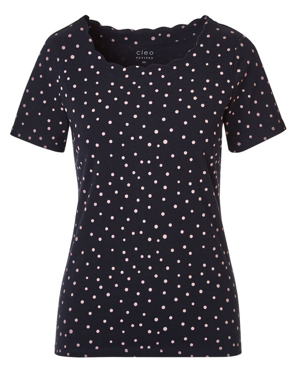 Dotted Scalloped Tee, Pink Dot Print, hi-res