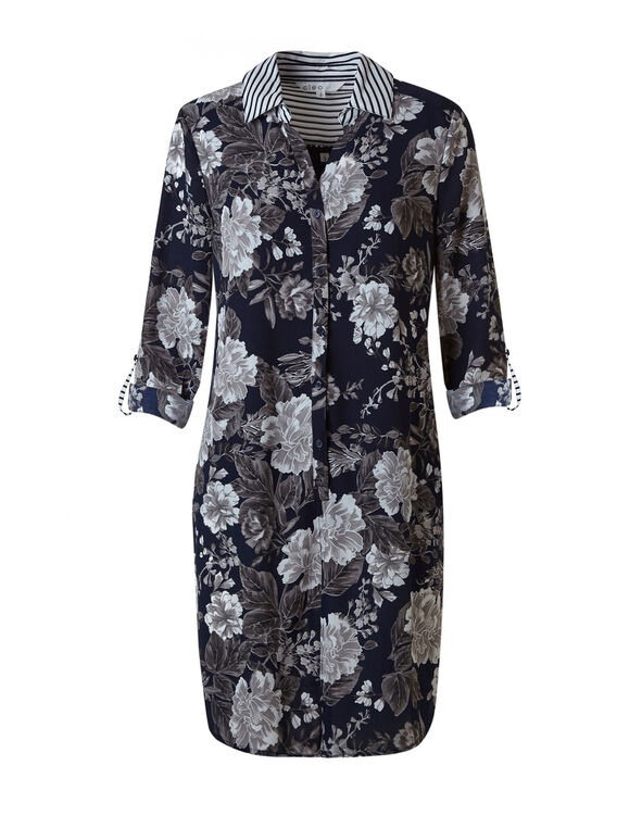 Navy Floral Button Tunic Blouse, Navy Floral, hi-res