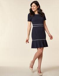 Navy Solid Crepe Dress