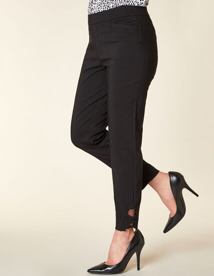 Black Slim Ankle Pant, Black, hi-res