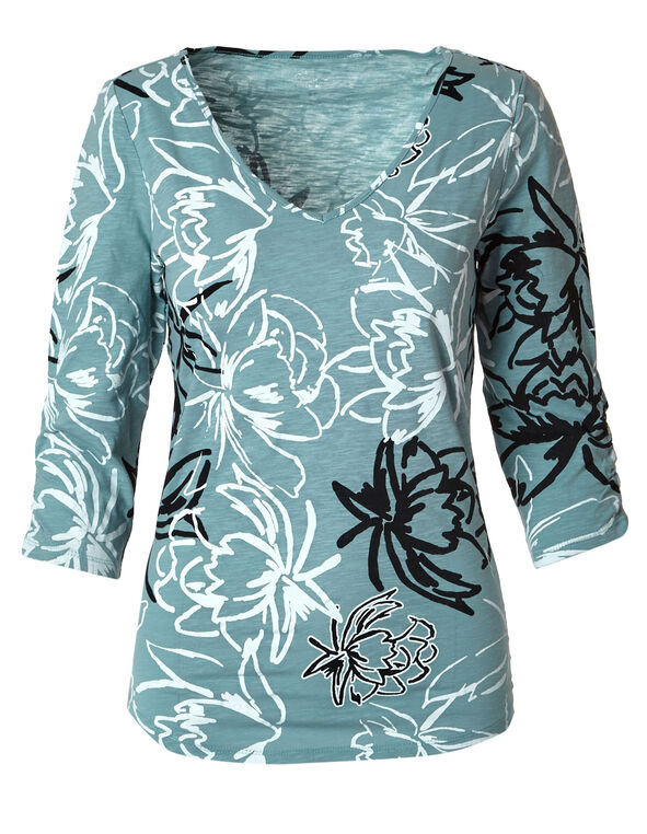 Aqua Floral Cotton Slub Tee, Aqua, hi-res