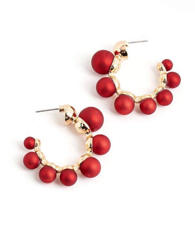 Festive Ball Hoop Earring, Red