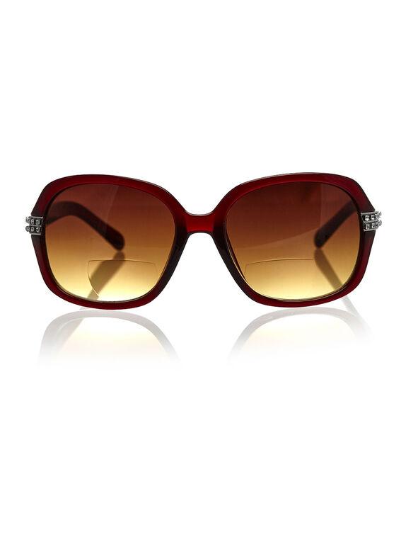 Red Bling Bi-Focal Sunreader, Red, hi-res