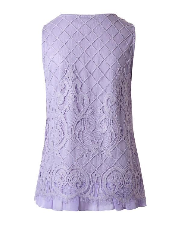 Lavender Lace Overlay Top, Lavender, hi-res