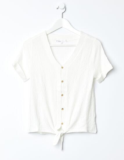 Twist Tie Front Top, White, hi-res