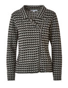 Black Herringbone Sweater Coat, Black, hi-res