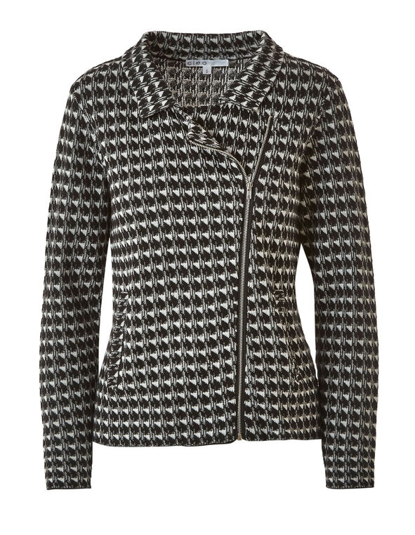 Black Herringbone Sweater Coat, Black, hi-res