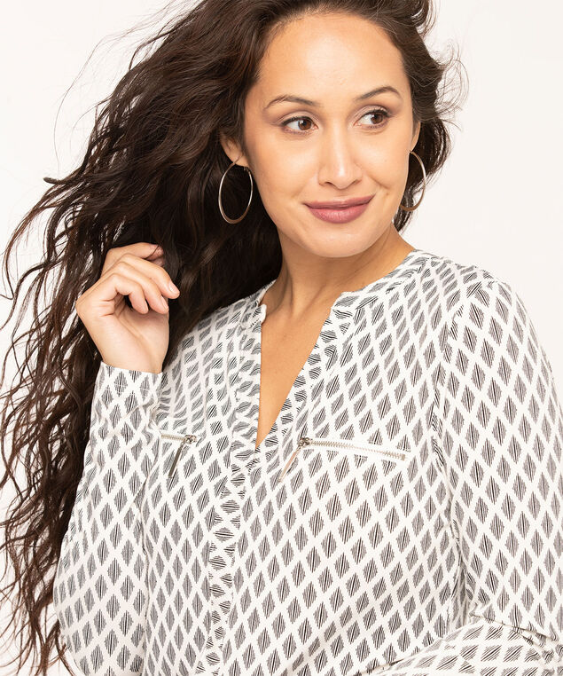Zipper Pocket Long Sleeve Top, Ivory/Black Print, hi-res