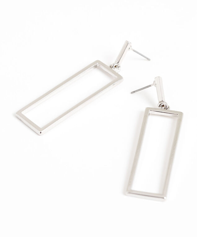 Silver Rectangle Drop Earring, Silver