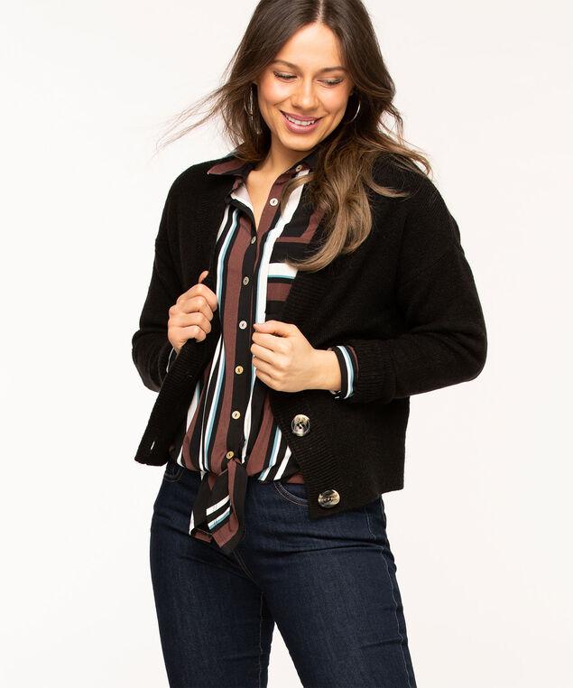 Long Sleeve Tie Waist Top, Brown/Teal/Black Stripe