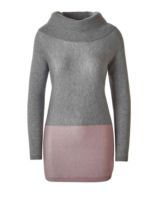 Grey Colour Block Sweater, Grey/Pink, hi-res