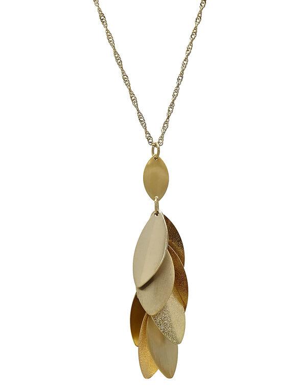 Gold Leaf Pendant Necklace, Gold, hi-res