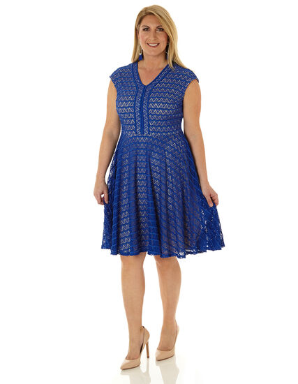 Electric Blue Lace Fit & Flare Dress, Electric Blue, hi-res