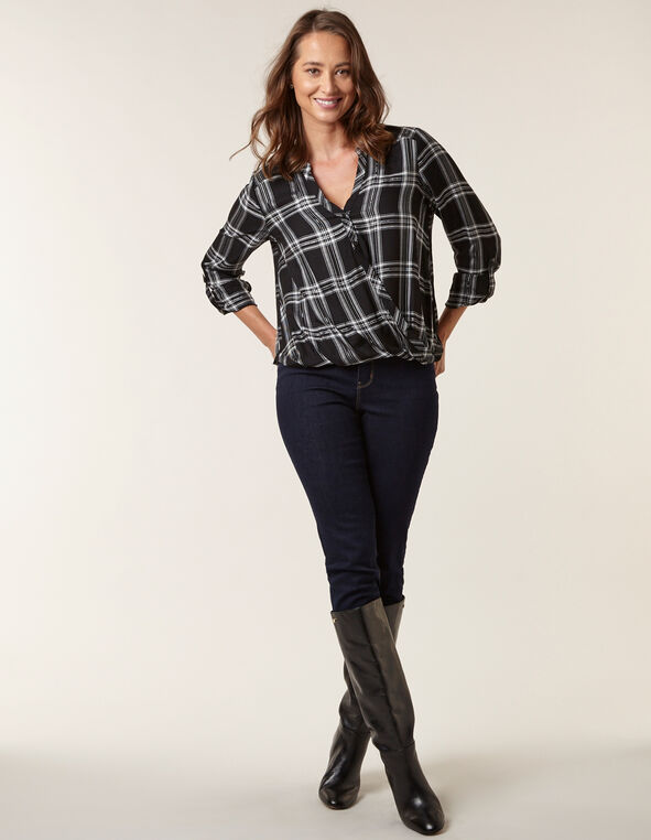 Black Plaid Roll Sleeve Blouse, Black, hi-res