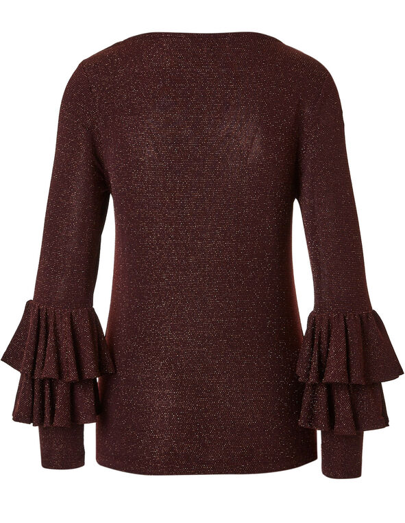 Burgundy Shimmer Ruffle Sleeve Top, Burgundy, hi-res