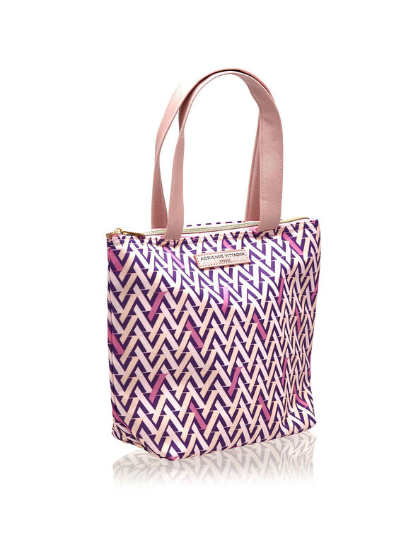 Pink Patterned Lunch Tote, Pink, hi-res
