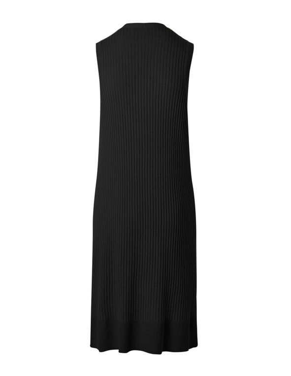 Black Long Ribbed Vest, Black, hi-res