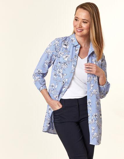 Blue Floral Stripe Tunic Blouse, Blue, hi-res