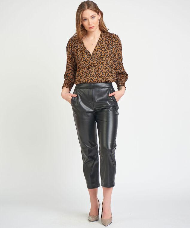 Dex Black Tape Faux Leather Trouser, Black