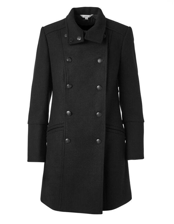 Black Wool Mix Coat, Black, hi-res