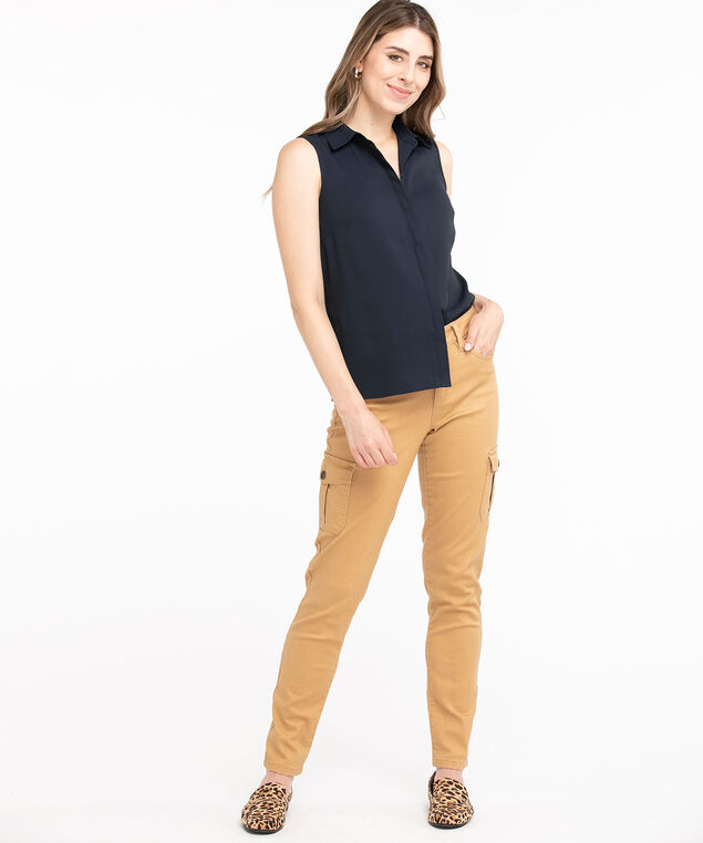 Sleeveless Collared Button Front Blouse, Navy