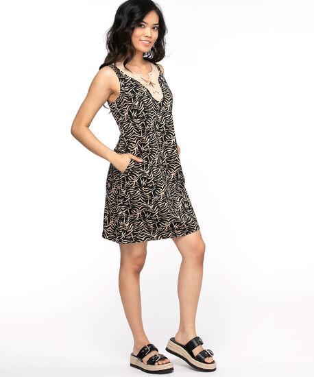 Cotton Tie Neck Slub Dress, Tan/Black Print, hi-res