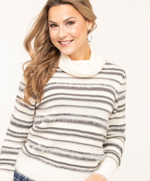 Striped Eyelash Turtleneck Sweater, Grey/Ivory, hi-res