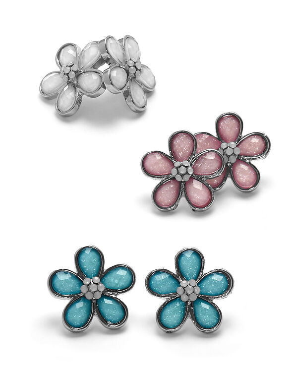 Pastel Flower Earring Trio Set, Pink/Blue/White, hi-res