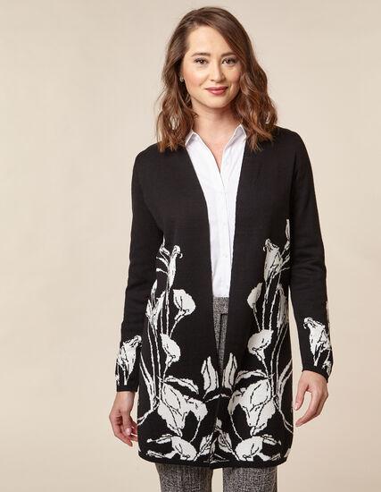 Black Floral Double Knit Cardigan, Black/Ivory, hi-res