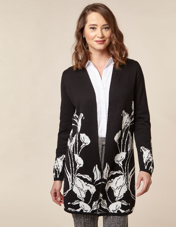 Black Floral Double Knit Cardigan, Black/Ivory, hi-res
