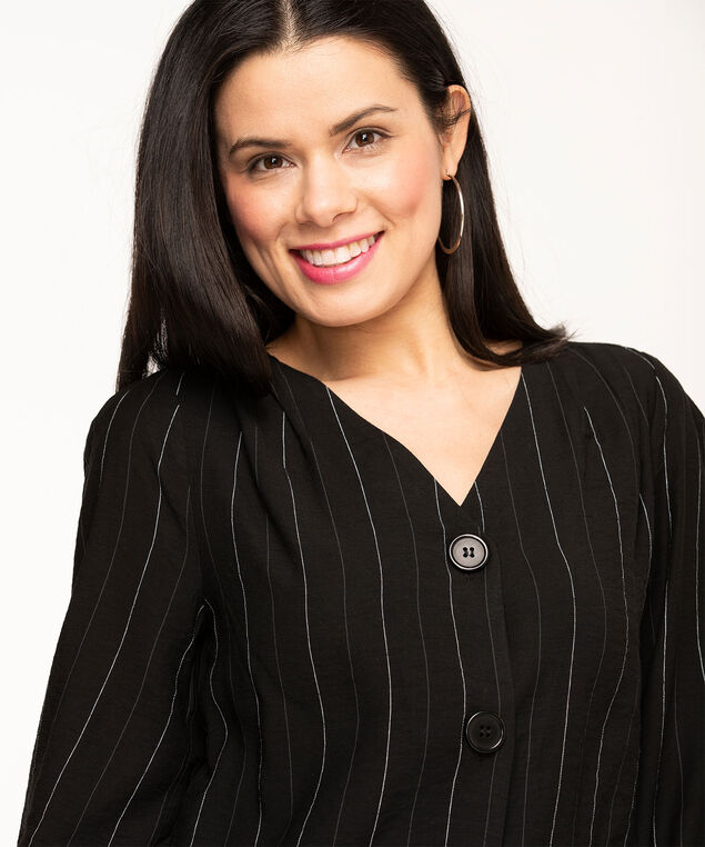 V-Neck Button Front Blouse, Black Stripe