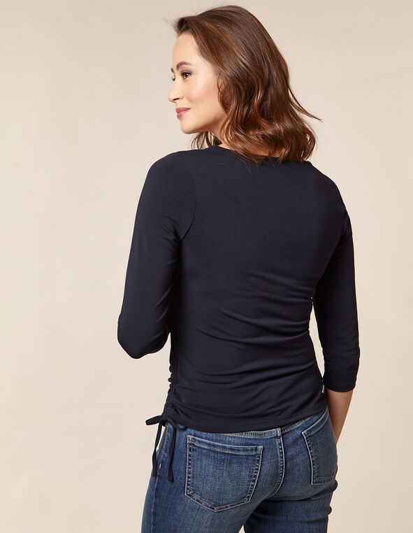 Navy Ruched Waist Top, Navy, hi-res