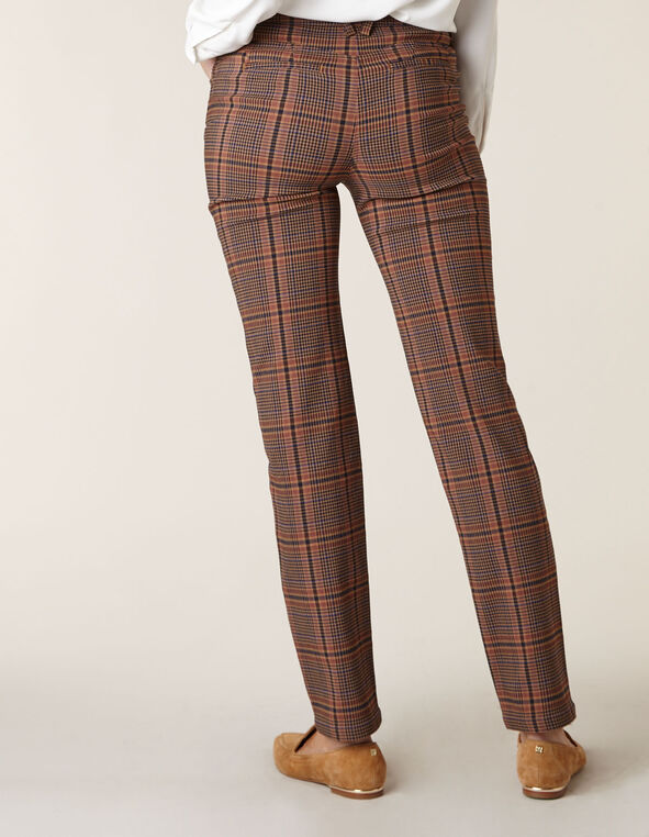 Camel Plaid Butt Lift Slim Pant, Brown, hi-res