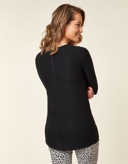 Ottoman Stitch Sweater, Black, hi-res