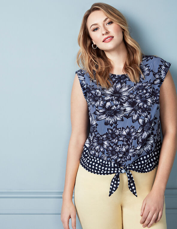 Navy Printed Front Tie Blouse, Navy, hi-res