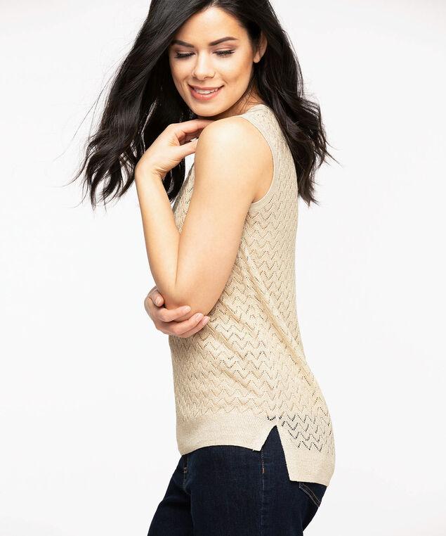 Sleeveless High-Low Tunic Sweater, Tan