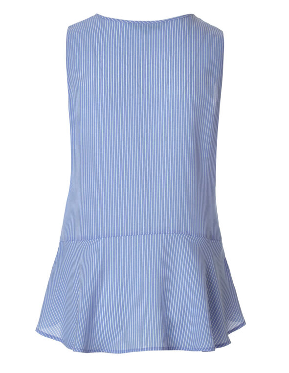 Chambray Striped Applique Blouse, Chambray, hi-res