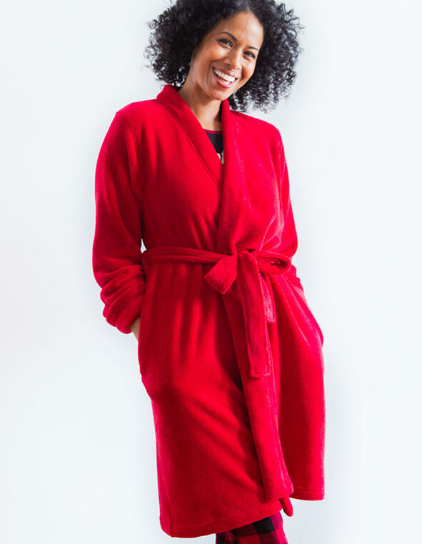 Red Plush Robe, Red, hi-res
